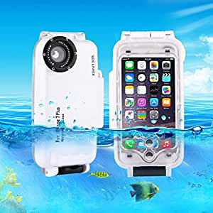 iPhone 5.5 inch Case, For iPhone 7 Plus 40m Waterproof Diving Housing Photo Video Taking Underwater Cover Case (5.5 inches) ( Color : White )
