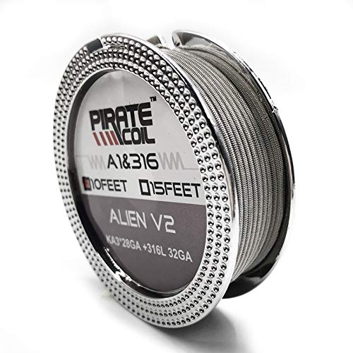 10 ft - AWG 28GAx3+32GA Alien Resistance Wire Kanthal A1+ SS316L Prebuilt Wire Coils for Household Wiring Use by PIRATE COIL