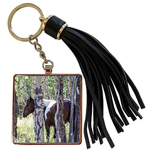 3dRose Danita Delimont - Horses - Pinto or paint horses in aspen trees - NA02 PWO0105 - PiperAnne Worcester - Tassel Key Chain (tkc_140345_1)