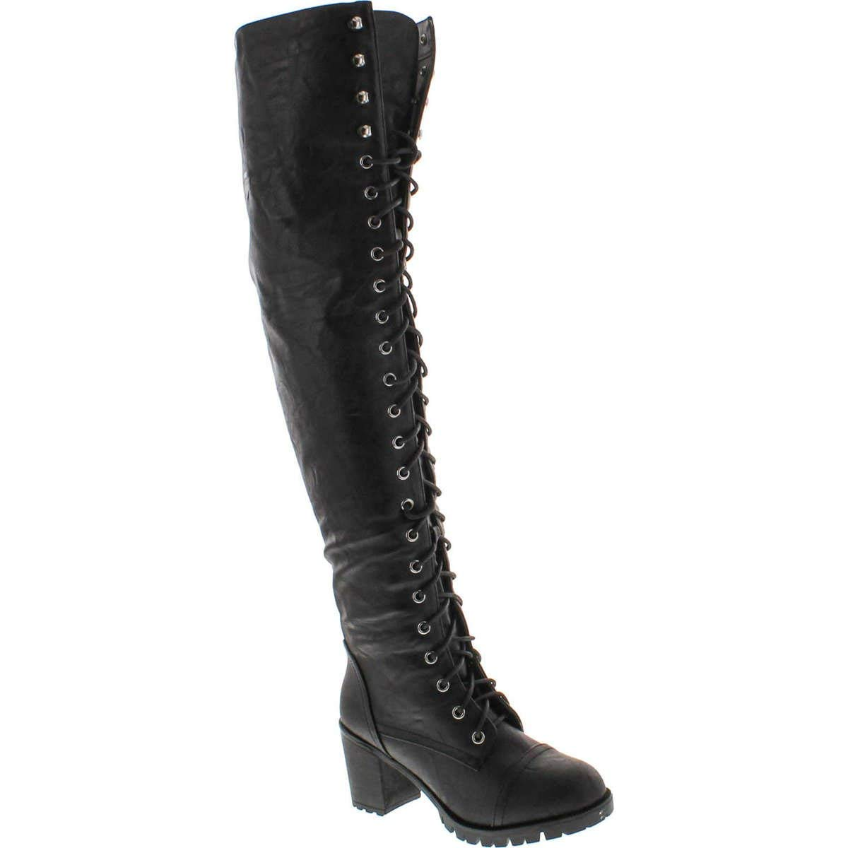 a223030db8f SHOEDEZIGNS Illusion 01 OK Womens Thigh High Lace UP Chunk Heel Combat Boots
