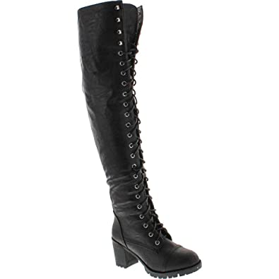 e83f9a0c587 Shoe Dezigns Illusion 01 Ok Womens Thigh High Lace up Chunk Heel Combat Boots  Black 5.5