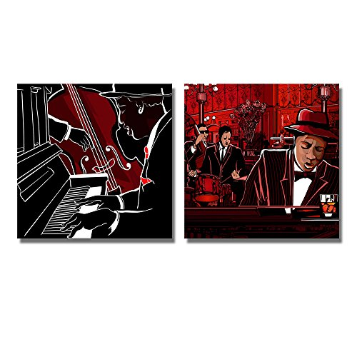 Illustration of a Jazz Piano and Double bass Band 2 Panel Wall Decor ation x 2 Panels