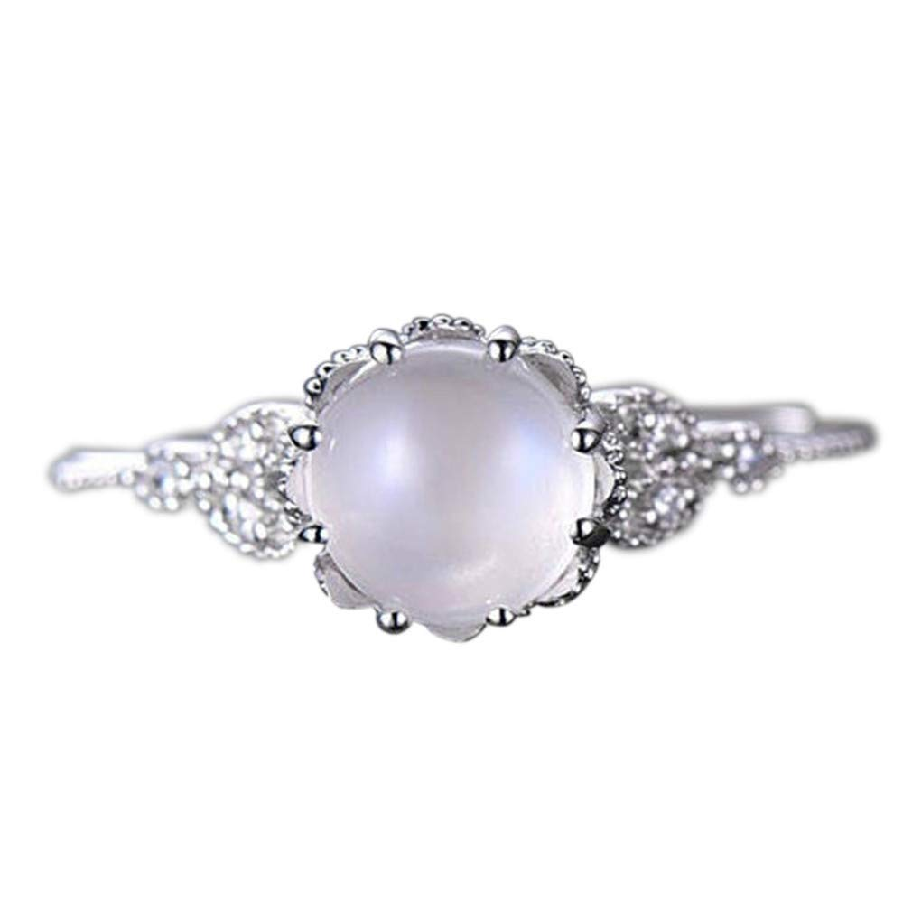 WoCoo Moonstone Clear Diamond Encrusted Ring Delicate Ring Gift on Valentine's Day(Silver,Size 6)