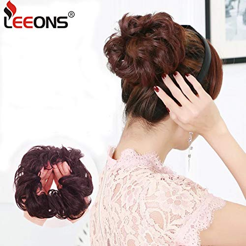 Leeons Wavy Donut Updo Ribbon Ponytail Hair Extensions Curly Messy Bun Dish Scrunchy Scrunchie Hairpiece Wave Bun Scrunchie Synthetic Hair Bun (#2) by LEEONS (Image #9)