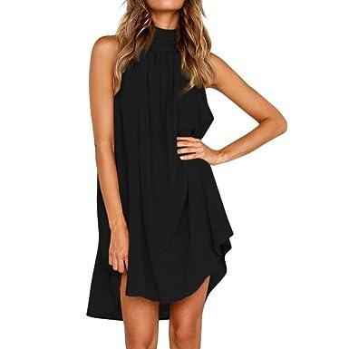 iQKA Women Ladies Elegant Turtleneck Sexy Backless Solid Flowy Beach Party  Mini Dress(Black  639f533fc