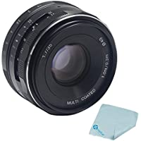 Mcoplus Meike 35mm f/1.7 Prime Fixed Manual Focus Lens for 4/3 systems Mirrorless APS-C Cameras Olympus Em1 Panasonic GF5/6/7 + Mcoplus Cleaning Cloth