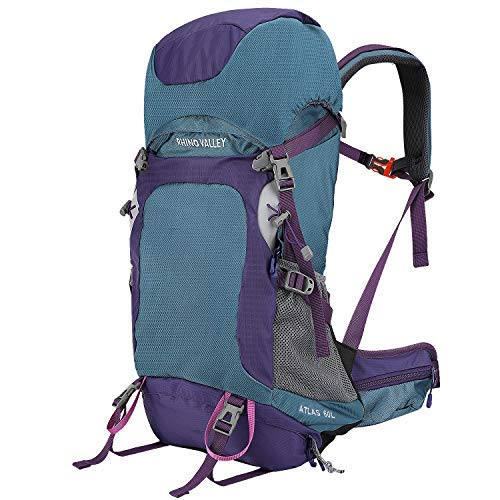 Rhino [並行輸入品] Blue Valley Travel Backpack, 60L Large Hiking - Backpack Lightweight Trekking Bag with Rain Cover for Climbing, Hunting, Cycling, Outdoor Activities - Blue + Purple [並行輸入品] B07R3Y6G8Z, グラスパパ40:582cd373 --- anime-portal.club
