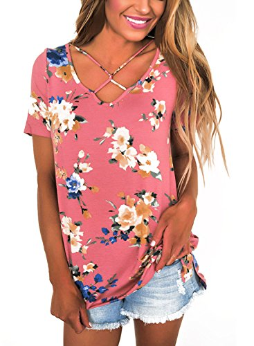Dokotoo Womens Summer Casual Short Sleeve Floral Tunic Tops