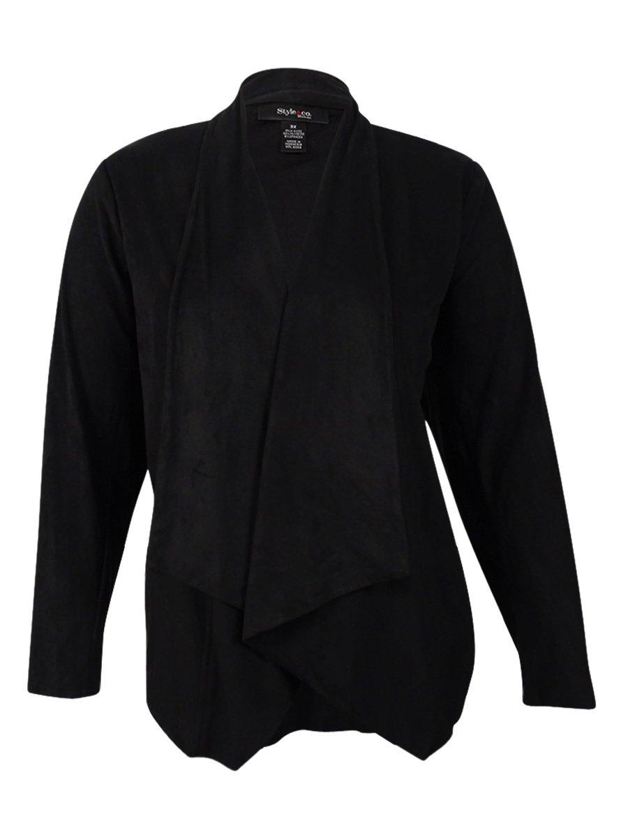 Style & Co. Women's Plus Size Draped Faux-Suede Jacket (3X, Deep Black)