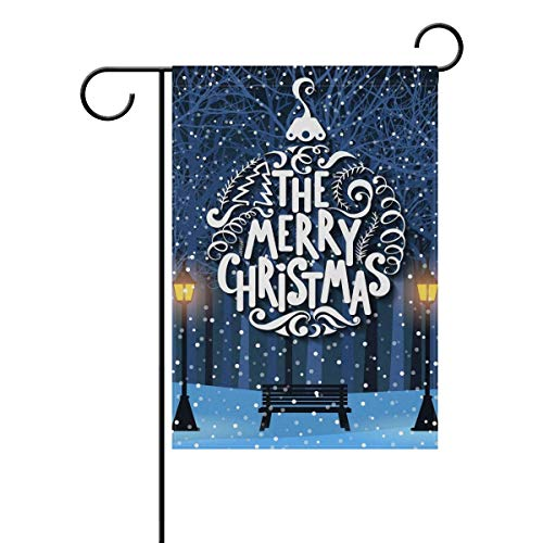 (Nick Thoreaufhed Christmas Winter Park Bench Double-Sided Polyester Garden Home Flag Banner for Party Home Outdoor Decor 12x18 inch)