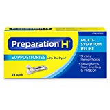 Preparation H Hemorrhoidal Suppositories with Bio-Dyne, Multi-Symptom Relief, 24 pack