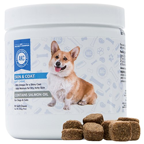 AKC Dog Skin and Coat Chews Supplements, Dog Itch Relief With Salmon Oil, 90 Soft Chewable Tablets