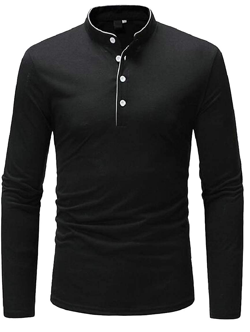 HTOOHTOOH Mens Casual Slim Fit Henley Shirt Stand Neck Long Sleeve Tops T-Shirts