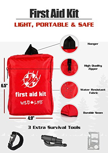 Compact Travel First Aid Kit for Hiking, Camping, Travel, Outdoors and Road Trips plus Bonus Keychain Car Escape Tool