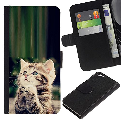 Planetar® Colorful Pattern Flip Wallet Leather Holster Protective Skin Case Cover For Apple (4.7 inches!!!) iPhone 6 / 6S ( Cute Praying Kitten God Christian Sweet (Skin Colorful Kittens)