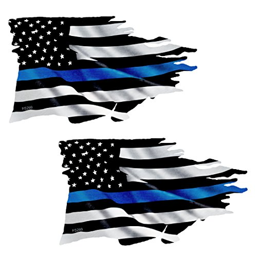 AZ House of Graphics Thin Blue Line TATTERED Flag Sticker 2