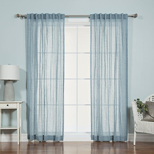 Best Home Fashion Faux Pippin Linen Sheer curtain - Back Tab/ Rod Pocket - Blue - 52