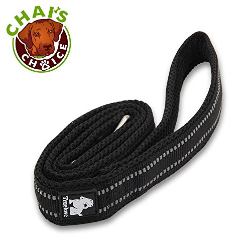 Chai's Choice Best Padded 3M Reflective Outdoor Adventure Dog Leash (Black, Large 78 -