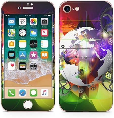 igsticker iPhone SE 2020 iPhone8 iPhone7 専用 スキンシール 全面スキンシール フル 背面 側面 正面 液晶 ステッカー 保護シール 008437 クール カラフル レインボー 歯車 地球