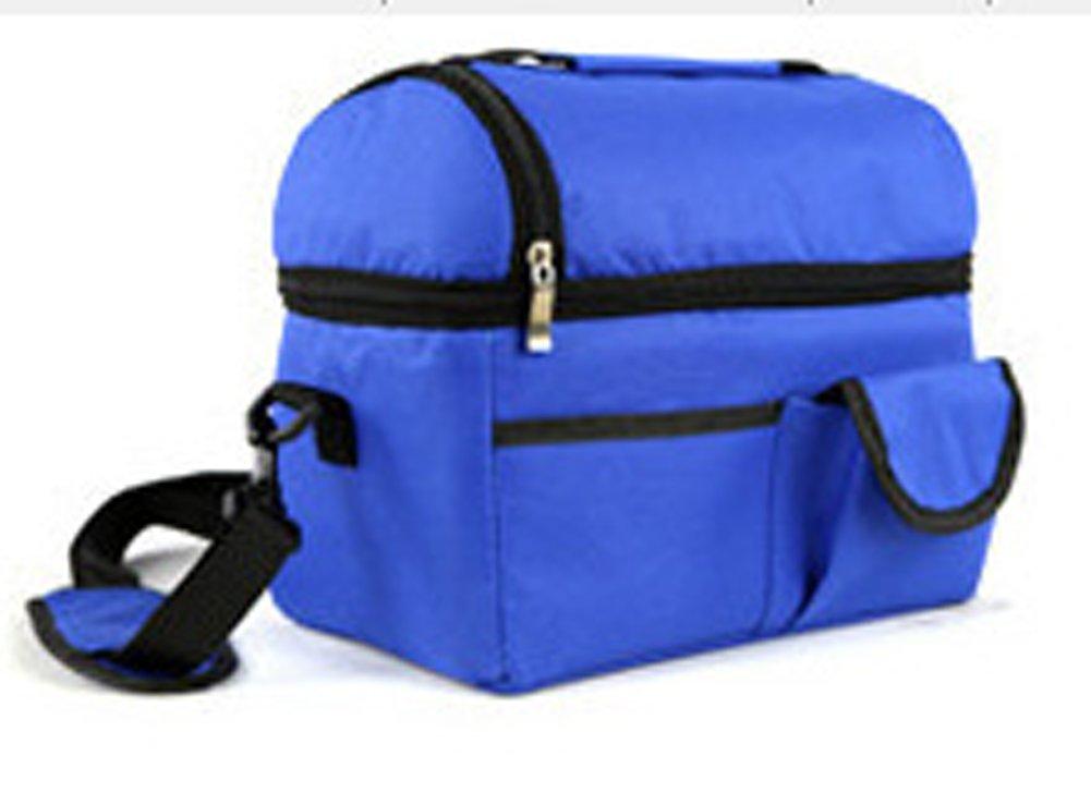 Ecokaki(TM) Large Capacity Insulated Cooler Picnic Lunch Bag Durable Picnic Tote Travel Zipper Organizer Box, Dark Blue