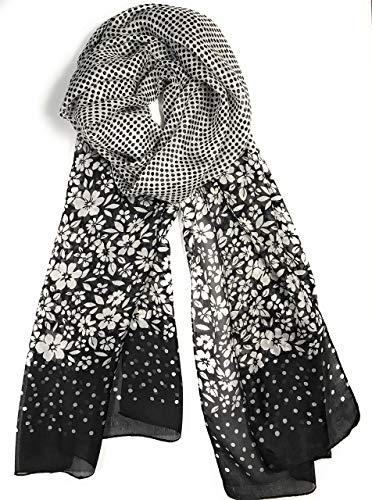 (Z&HTrends Womens Genuine Silk Scarf (small, Black Dot Dot)