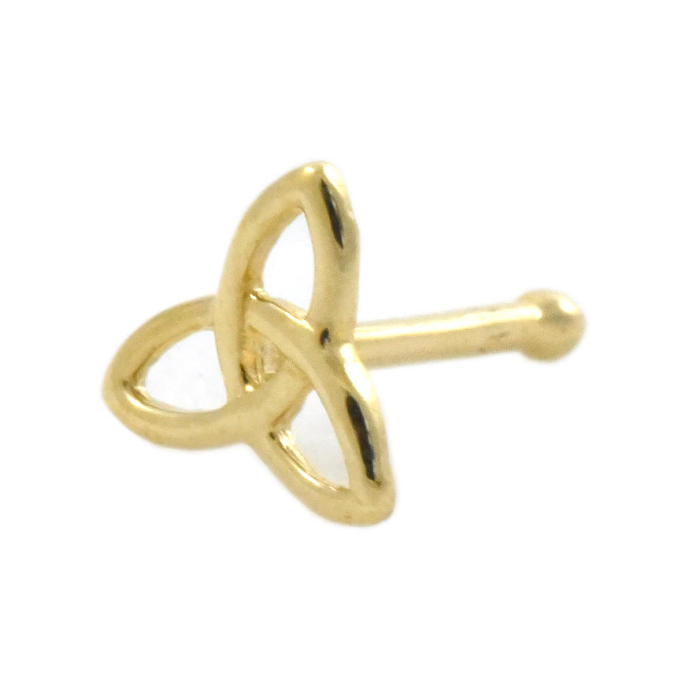 Triquetra Celtic Trinity Knot 14k Gold Nose Ball Bone End Piercing Stud 20 Gauge Jewelry