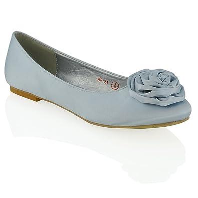5f55dc8648d ESSEX GLAM Women s Flat Slip On Flower Detail Silver Satin Bridal Ballerina  Pumps 5 B(