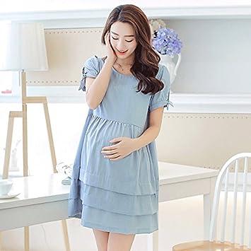 DESY Vestido de maternidad, falda de mujeres embarazadas de manga corta, falda corta de