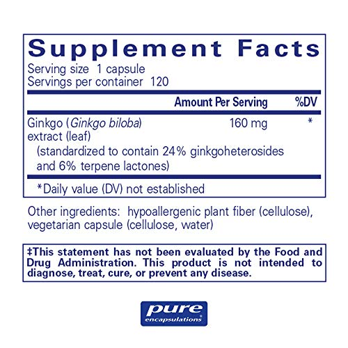 Pure Encapsulations - Ginkgo 50 160 mg - Hypoallergenic Ginkgo Biloba Extract - 120 Capsules by Pure Encapsulations (Image #1)