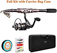 Plusinno TM Spin Spinning Rod and Reel Combos Carbon Telescopic Fishing Rod with Reel Combo Sea Saltwater Fres