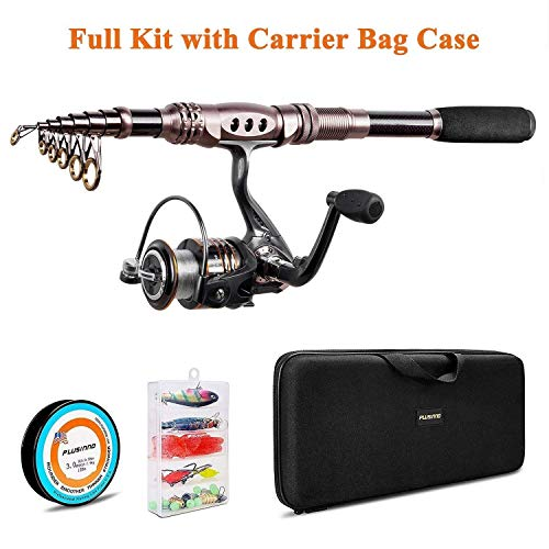 PLUSINNO Fishing Rod and Reel Combos Carbon Fiber Telescopic Fishing Rod with Reel Combo Sea Saltwater Freshwater Kit Fishing Rod Kit (Full Kit with Carrier Case, 2.7M 8.86FT) (Jigging Rod Case)