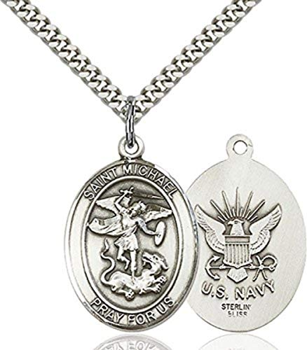 - bliss Sterling Silver Saint Michael the Archangel Navy Medal Pendant, 1 Inch