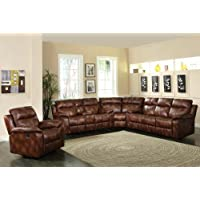 3 pc Dyson collection light brown polished microfiber upholstered sectional sofa set with recliner ends