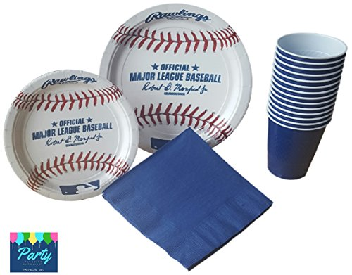 Baseball Party Supplies - Large Baseball Plates, Dessert Plates, Matching Napkins & Plastic Cups for 16 Guests