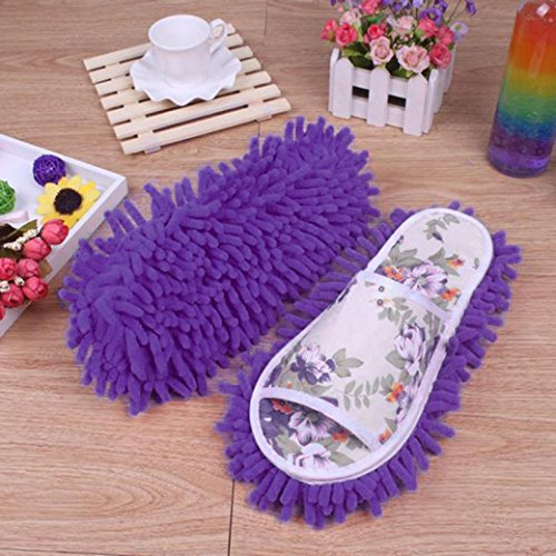 Anshinto Dust Mop Slippers Socks House Slippers Bedroom Shoes (Purple) (Perfect Sweep Dual Brush Sweeper)