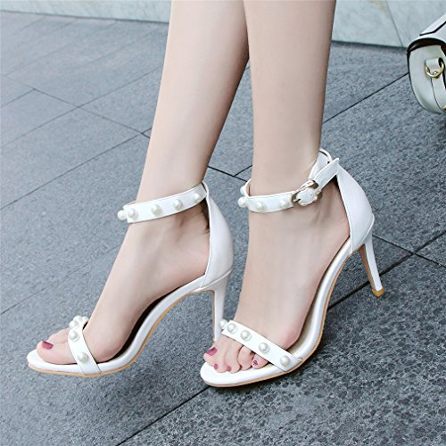 Women's with Open Pearl High Stiletto Heel Ladies Toe Ankle Shoes White YE Sandals Strap dCav8xUnw