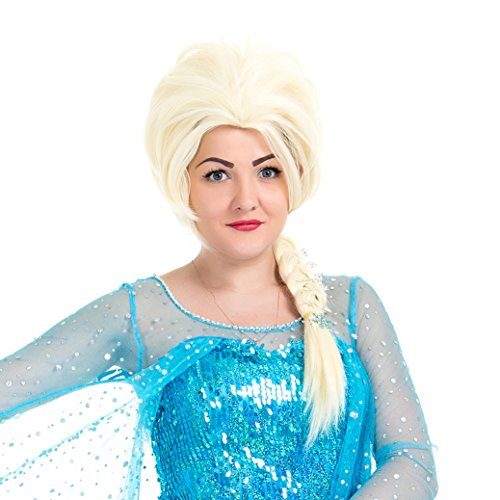 PINKISS Princess Frozen Snow Queen Cos-Play Elsa and Anna Wig with Free Wig Cap (LC 2702/Light Blonde and Beige) ()