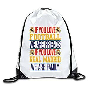 Runy Custom Real Madrid Adjustable String Gym Backpack White