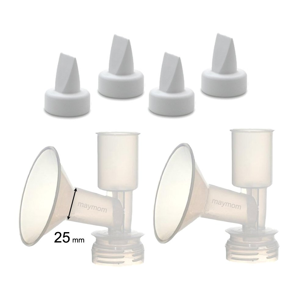 Replacement Flange Kit (Can replace Ameda Standard Flange) for Ameda Purely Yours, Ultra Breastpump, Flange 25 mm, with Duckbill; Made by Maymom