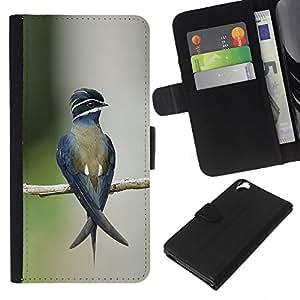 KLONGSHOP // Tirón de la caja Cartera de cuero con ranuras para tarjetas - pájaro ramificación tropical naturaleza borrosa verde - HTC Desire 820 //
