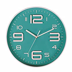 SonYo Big 3D Number 12 IN Wall Clock Quiet Sweep Movement Decorative Wall Clocks for Living Room Bluegreen by