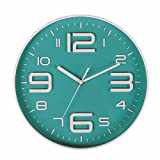 SonYo Indoor Big 3D Number Silent Wall Clock Quiet Sweep Movement Wall Clocks Battery Operated 10 Inch (Bluegreen)