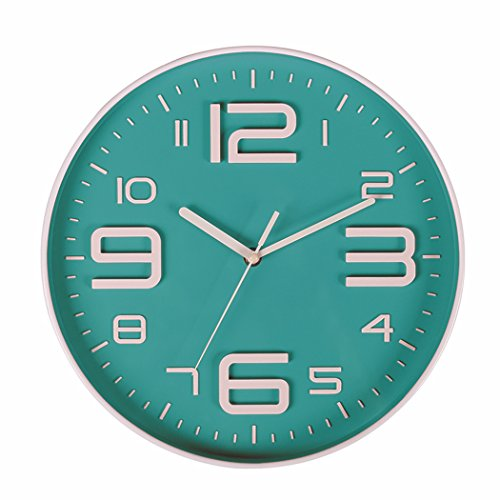 SonYo Indoor Big 3D Number Silent Wall Clock Quiet Sweep Movement Wall Clocks Battery Operated 10 Inch (Bluegreen) ()