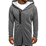Shybuy Mens Stylish Hipster Hip Hop Sweatshirt Casual Long Sleeve Zipper Irregular Hoodie Coat T-Shirt (Gray, M)