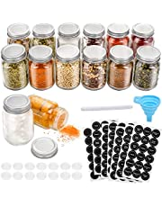 14 Pcs Glass Mason Spice Jars with Spice Labels - 4oz Empty Spice Bottles - Shaker Lids and Airtight Metal Caps - Chalk Marker and Collapsible Funnel Included- For Herbs & Spices, Jelly, DIY & Crafts