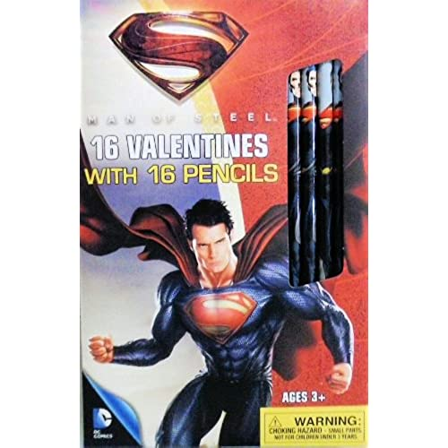1 X Superman Man of Steel 16 Valentines Cards with 16 Pencils Sales