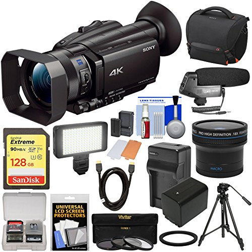 (Sony Handycam FDR-AX700 4K HD Video Camera Camcorder with 128GB Card + Battery + Case + LED Light + Microphone + Tripod + Filters + Fisheye Lens + Kit)