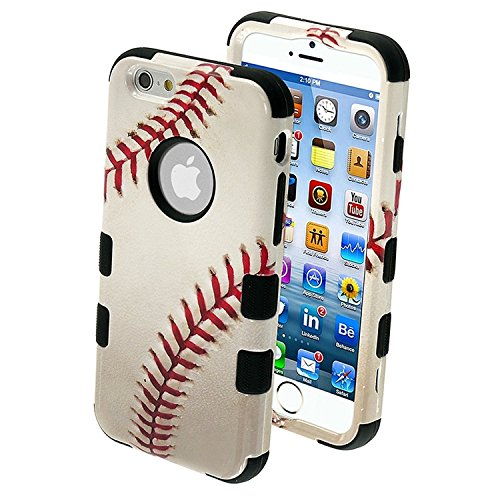 Asmyna Tuff Hybrid Protector Cover for iPhone 6 - Retail Packaging - Baseball Sports Collection/Black