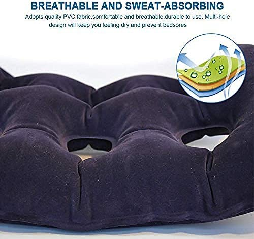 VGZ Aufblasbares Luftkissen gegen Dekubitus Rollstuhl Büroauto Luftpolster Sitzlehnenstütze Steißbein und Ischias Schmerzlinderung Ideal für längeres Sitzen-43 * 43 cm