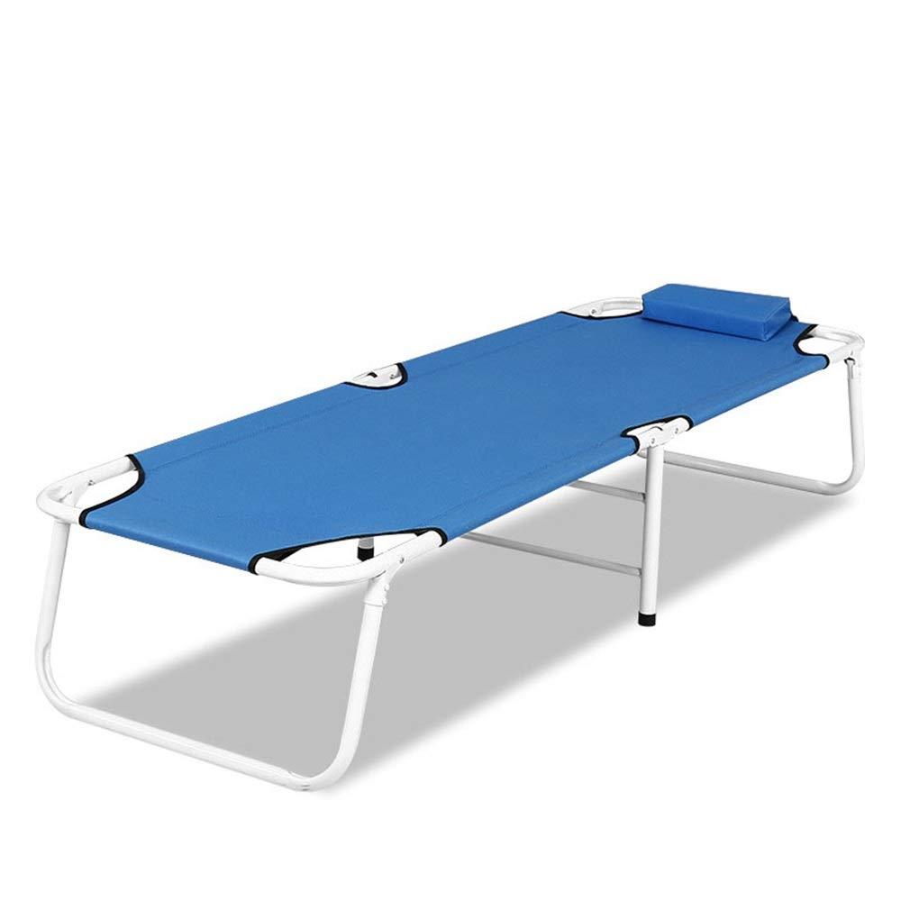 DMMW-Home Klappbett Klapp Camping Gästebett Sonnenliege Schlafsofas Büro im Freien Chaise Longue Nickerchen Kissen Kissen Single Leisure Bed (Farbe : Blau, Größe : 180 * 60 * 35cm)